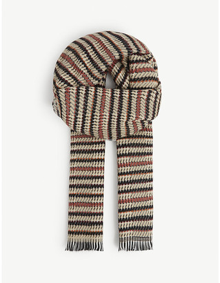 Sessun Jagoa stripes and houndstooth scarf