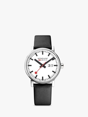 Mondaine MSE.40210.LB Unisex Evo 2 Date Leather Strap Watch, Black/White