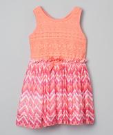 Nannette Orange & Pink Babydoll Dress - Girls