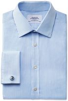 Charles Tyrwhitt Extra Slim Fit Raised Stripe Sky Blue Cotton Formal Shirt Double Cuff Size 16/36
