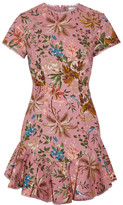 Zimmermann Tropicale Open-back Printed Linen And Cotton-blend Mini Dress - Baby pink