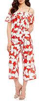 J.o.a. Cold Shoulder Floral Jumpsuit