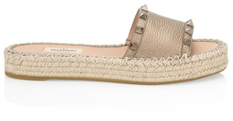 Valentino Rockstud Flatform Leather Espadrille Sandals