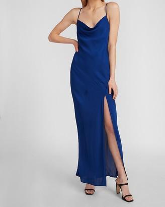 Express Satin Cowl Neck High Slit Maxi Slip Dress