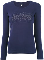 Armani Jeans embellished logo longsleeved T-shirt - women - Cotton/Spandex/Elastane - 38