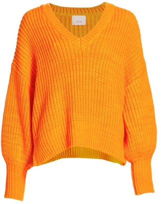 Cinq à Sept Antonella Knit Puff-Sleeve Sweater