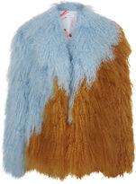 Saks Potts Blue & Yellow Fur Tibetan Jacket