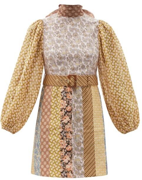 Zimmermann High-neck Patchwork Linen Mini Dress - Brown Stripe
