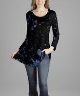 Lily Black & Blue Splatter Scoop Neck Tunic - Plus Too