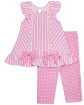Rare Editions Baby Girls 2-Pc. Striped Tunic & Dot-Print Leggings Set
