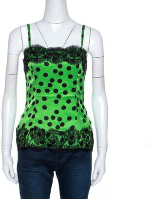 Dolce & Gabbana Green Polka Dot Satin Lace Trim Camisole Top S