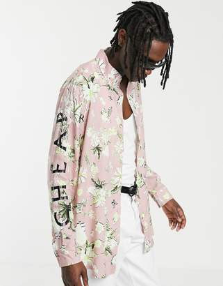 Cheap Monday floral shirt with lettering in pink