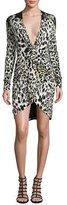 Roberto Cavalli Leopard-Print Long-Sleeve Deep-V Dress, Leopard