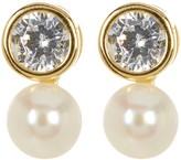 Argentovivo 18K Gold Plated Sterling Silver 6mm Genuine Freshwater Pearl & Bezel CZ Earrings