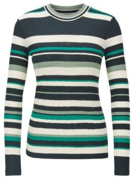BOSS Slim-fit jersey top with collection-coloured stripes