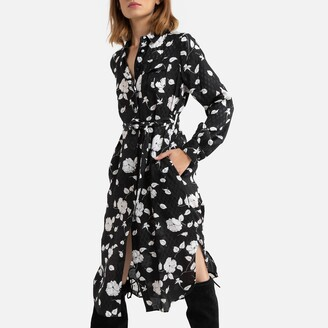 Derhy Floral Knee-Length Dress with Long Sleeves