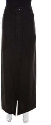 Escada Black Linen Silk Button Front Maxi Skirt M