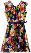 Us Angels Floral Chiffon Flutter Cap Sleeve Dress w/ Tie Belt & Full Skirt (Big Kids)