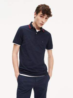 Tommy Hilfiger Contrast Textured Stripe Slim Fit Polo
