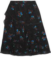 Coach Tiered Printed Crinkled-Silk Mini Skirt
