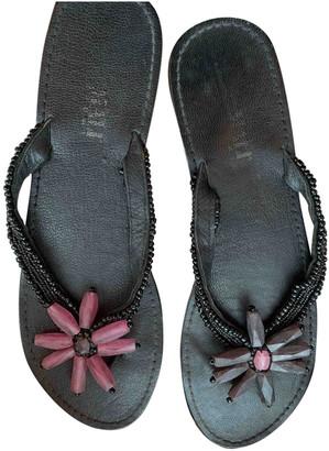 Maliparmi Black Leather Sandals