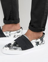 Asos Slip On Sneakers In Black Floral With Elastic Strap