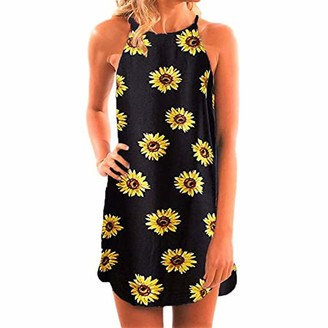 FUKESI Women's Casual Sleeveless Floral O Neck Mini Dress Summer Beach Halter Neck Dresses (Black S)