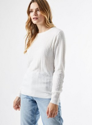 Dorothy Perkins Womens Ivory Cash Cable Crew Neck Jumper, Ivory