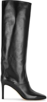 Jimmy Choo Mahesa 85 black leather knee high boots