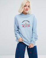 Lazy Oaf High Neck Sweatshirt With Weird Cat Lady Embroidery
