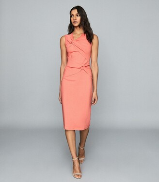 Reiss Alex - Ruched Bodycon Dress in Coral
