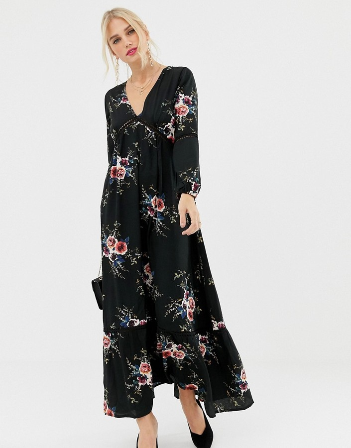 Yumi 3/4 sleeve floral maxi dress