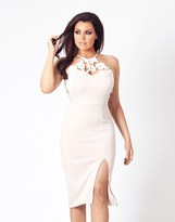Jessica Wright Halter Neck Lace Midi Dress