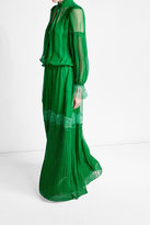 Roberto Cavalli Silk Dress with Lace and Pleats