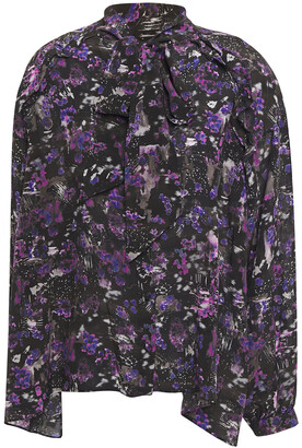 IRO Equinoxe Pussy-bow Printed Silk Crepe De Chine Blouse