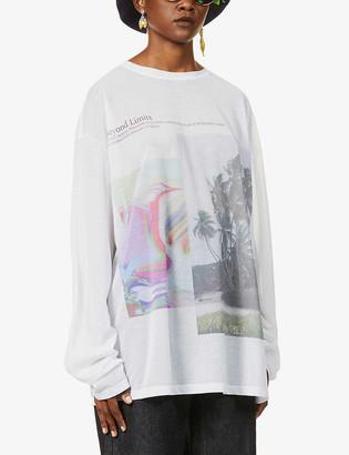 Fenty by Rihanna Graphic-print cotton-blend mesh t-shirt