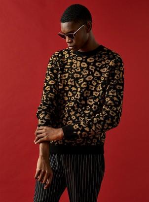 Topman Animal Print Knitted Jumper