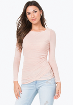 Bebe Mesh Ruched Top