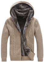 QZUnique Men's Big&Tall Cardigan Zip-Up Sweater Hooded Jumper with Thermal Lining 4XL