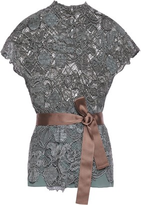 Brunello Cucinelli Belted Bead-embroidered Crochet Top