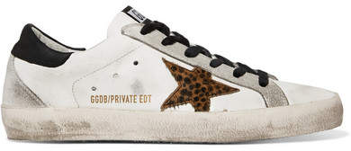 Golden Goose Superstar Distressed Leather, Suede And Leopard-print Calf Hair Sneakers - White