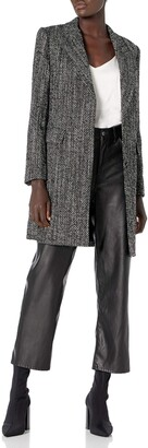 Theory Women's Single Breasted Coat Pressed Tweed