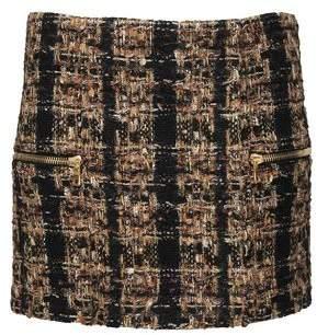 Balmain Metallic Boucle-tweed Mini Skirt