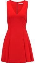 Alice + Olivia Elva Pleated Stretch-Jersey Mini Dress