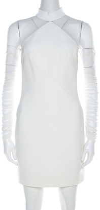 Balenciaga Balengiaga White Stretch Crepe and Tulle Ruche Sleeve Detail Shift Dress S