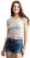 Aeropostale Womens Varsity A Ringer Crop Baby Tee Shirt Gray