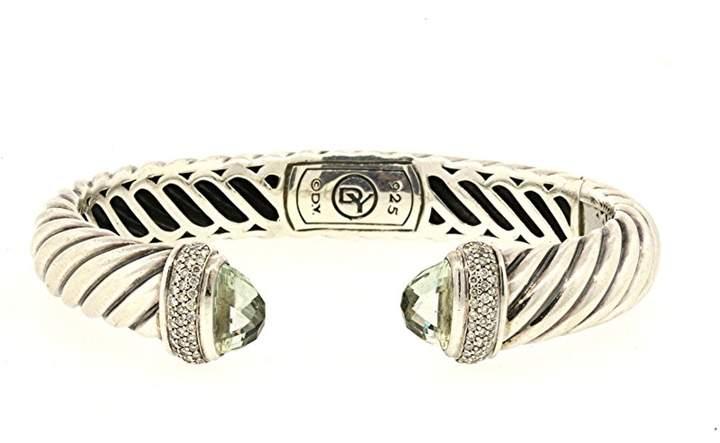 David Yurman 925 Sterling Silver with Prasiolite & 0.39ct Diamond Waverly Cable Cuff Bracelet