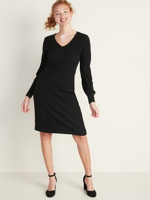 Old Navy Rib-Knit Lantern-Sleeve Dress for Women