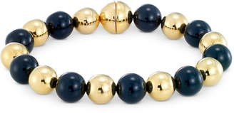 Signature Gold Onyx Bead & Diamond Accent Bangle Bracelet in 14k Gold Over Resin