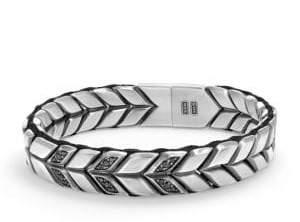 David Yurman Chevron Woven Bracelet with Black Diamonds